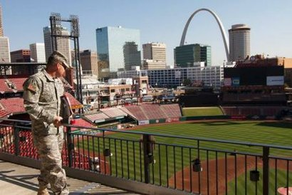 A member of the Missouri National Guard during the 2013 World Series in St. L...