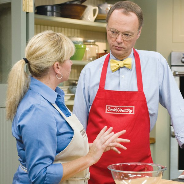 Host Chris Kimball with test cook Bridget Lancaster. The Daytime Emmy®-nomina...