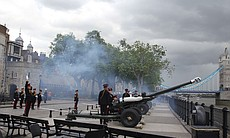 62 Gun Salute on the river bank.