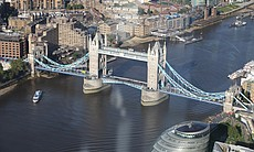 Aerial top shot of Tower Bridge.