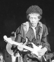 Jimi Hendrix on stage, April 25, 1970 at LA Forum, Los Angeles, Calif.