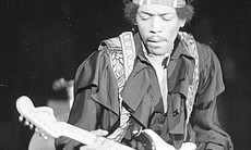 Jimi Hendrix on stage, April 25, 1970 at LA For...