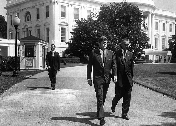 President Kennedy and Vice President Johnson prior to the introduction ceremo...