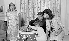 Taken November 27, 1962 at Caroline Kennedy's 5th Birthday in the White House nursery: (from left) Caroline, John Jr., President Kennedy, Mrs. Kennedy.