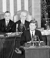 "Taken January 11, 1962: Vice President Lyndon B. Johnson, Speaker of the House John McCormack of Massachusetts. President Kennedy's second State of the Union is titled, ""Strengthening the Economy."""