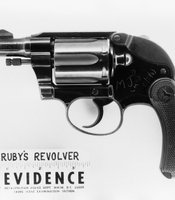 The revolver used by Jack Ruby to assassinate Lee Harvey Oswald during a press conference in Dallas following the assassination of President Kennedy. The initials scratched into the surface of the revolver are those of the arresting officer.