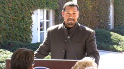 Navy Veteran Gregg Snowden speaking at the groundbreaking for California Stat...