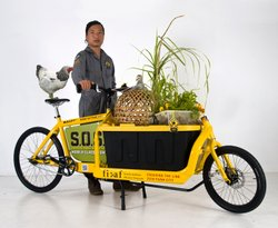 New York artist Tattfoo Tan and his Sustainable Organic Stewardship (S.O.S) project. His installation demonstrating how to raise chickens is currently at the New Children's Museum.