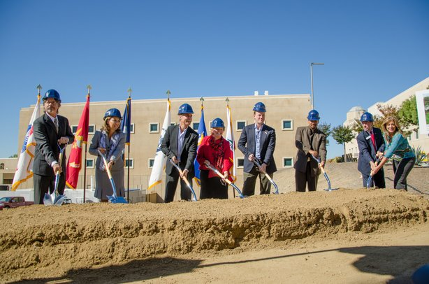 Campus officials have broken ground for the school's first stand-alone veterans' center.