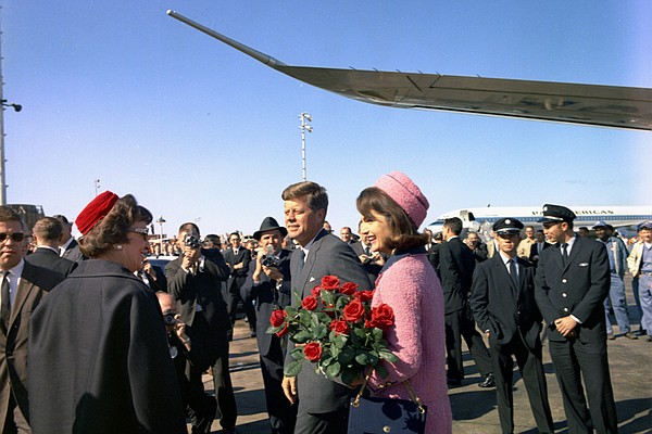 President John F. Kennedy and Jacqueline Kennedy in Dallas, Texas; 1963.