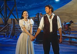 "Josefina Gabrielle as Laurey, and Hugh Jackman as Curly in a scene from ""Rodgers And Hammerstein's Oklahoma!"""
