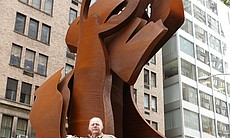 "Albert Paley with ""Counter Balance"" (2013), one of 13 sculptures mounted on Park Avenue in New York City."