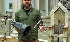 Tom Pullin with his sculptures at the Corcoran College of Art + Design.