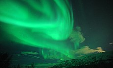 An aurora that appeared at the height of 100 km above, image captured from th...