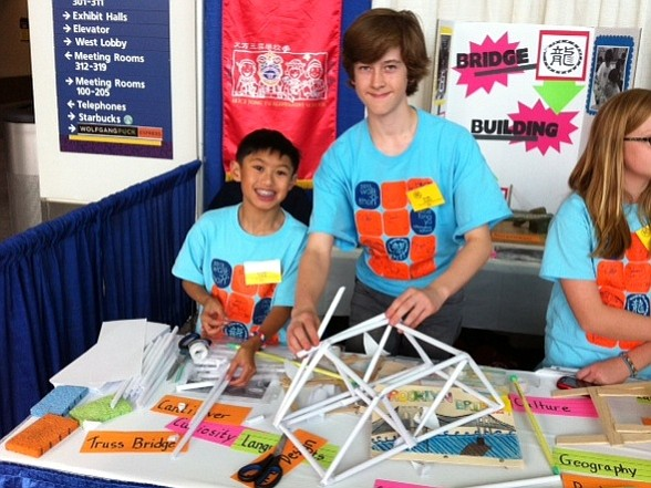 Caleb Leung (left) and Scully Randlett, 7th graders at Al...