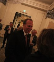 Councilman Kevin Faulconer talks with guest during his election night reception at the US Grant Hotel.