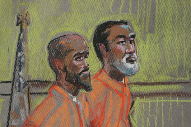 Mohamed Mohamud and Issa Doreh are shown in this 2010 courtroom drawing by Krentz Johnson.