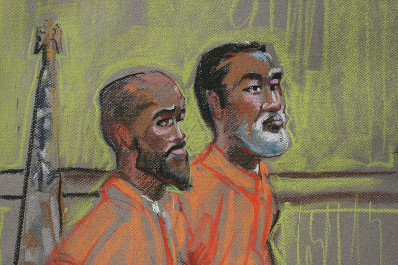 Mohamed Mohamud and Issa Doreh are shown in this 2010 courtroom drawing by Kr...