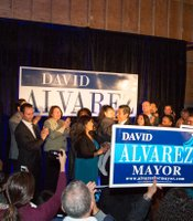 David Alvarez at his election night party at Bread and Salt Art Gallery and Co-op.