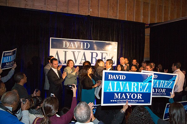 David Alvarez at his election night party at Bread and Sa...