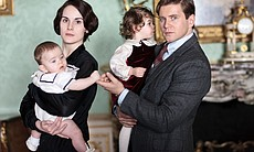 Michelle Dockery as Lady Mary and Allen Leech as Branson.