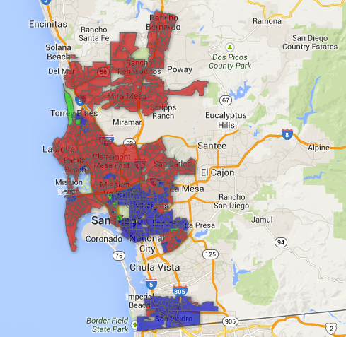 A map showing San Diego Mayoral election results by precinct.