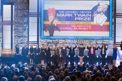 From left to right: Rashida Jones, Tony Bennett, Amy Poehler, Tim Conway, Tin...