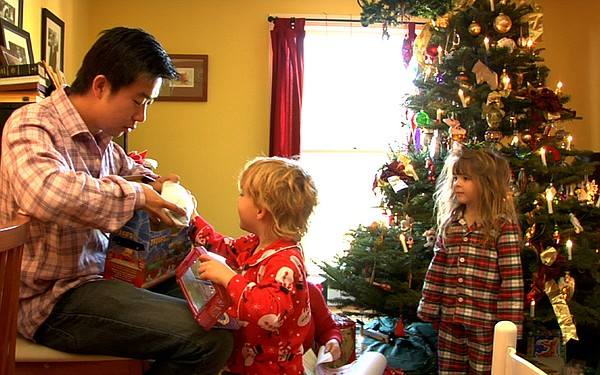Tom Xia's first Christmas at the Jones home, with Finley and Tessa.
