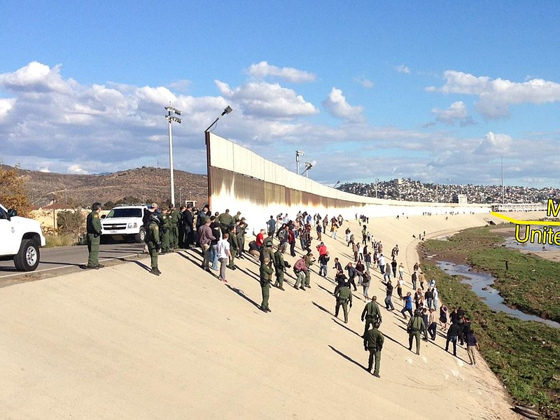 A Border Patrol statement says several agents were hit in the arms and legs w...