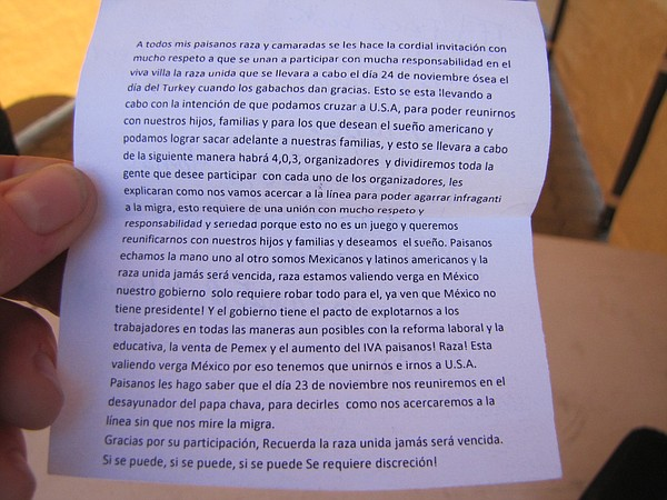 """So that we can reunite with our children, families,"" the flier read in small..."