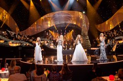 "(l-r): Máiréad Nesbitt, Susan McFadden, Lisa Lambe and Méav Ni Mhaolchatha. Internationally renowned for alluring stage productions and songs of heartwarming inspiration, Celtic Woman present their new chapter of musical enchantment, ""Celtic Woman: Home For Christmas."""