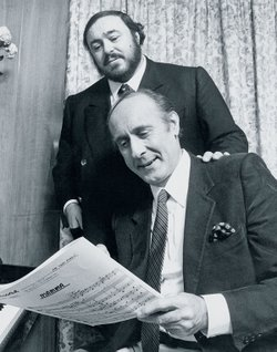 "Luciano Pavarotti and Henry Mancini rehearse for the recording of ""Mamma."""