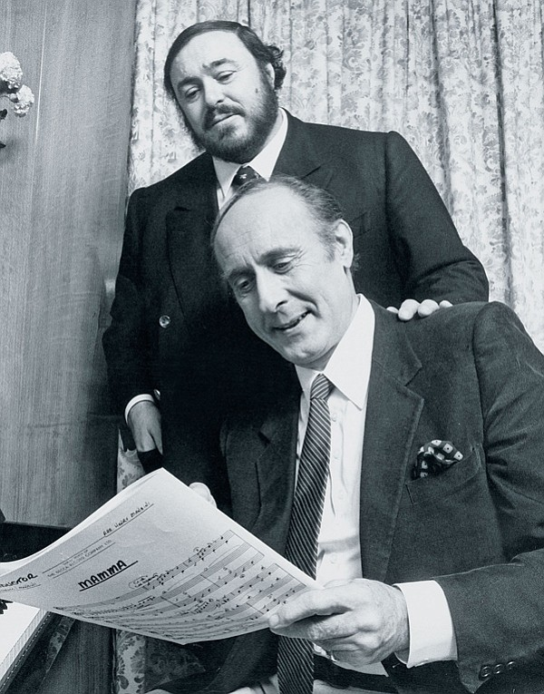 Luciano Pavarotti and Henry Mancini rehearse for the recording of