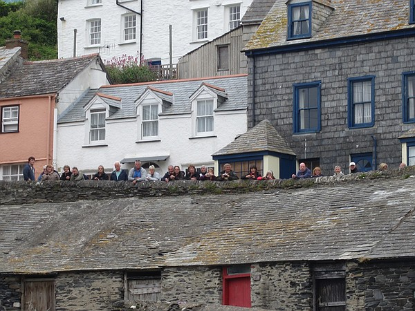A crowd watches the taping of DOC MARTIN.