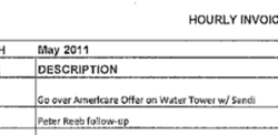 "Invoice submitted to Poway Unified School District from Joe Taylor for reviewing ""Americare Offer"" on water tower sit."