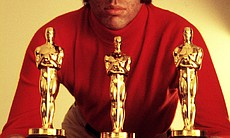 Marvin Hamlisch with his three Oscars, circa 1974. (33162)