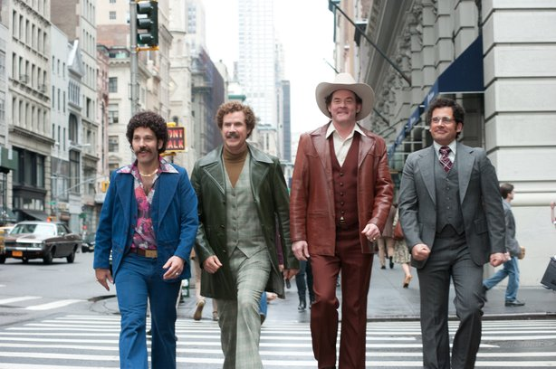 "Paul Rudd, Will Ferrell, David Koechner and Steve Carell feel the perm in ""Anchorman 2."""