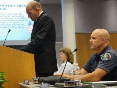 SFFA President Harley Wallace speaks to council members i...