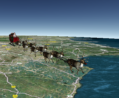 Santa Claus over the Indian Ocean, Dec. 24, 2013.