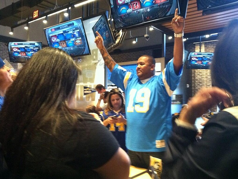 San Diego Chargers fan reacts to the Bolts' 27-10 win over the Cincinnati Ben...