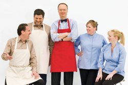 The cast of AMERICA'S TEST KITCHEN: Jack Bishop, Adam Reid, host Christopher ...