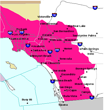 This National Weather Service map shows in pink the areas...