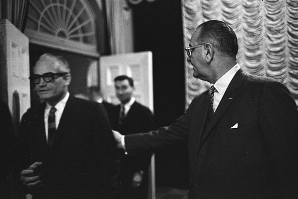 President Lyndon B. Johnson meets with Senator Barry Goldwater on January 16,...