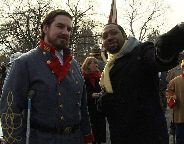 Director Shukree Tilghman with Brandon Dorsey, of the Sons of Confederate Vet...