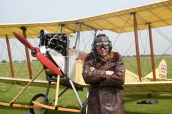 Engineer Dr. Hugh Hunt goes up for a spin in a replica, WWI BE2c biplane used...