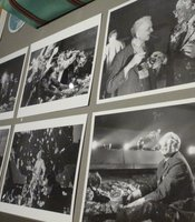 "Photos of the shot but never used pie fight in the War Room for the end of ""Dr. Strangelove."""