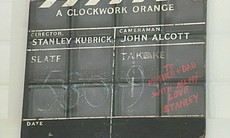 "The slate for ""A Clockwork Orange"" with a birthday message from Kubrick to his parents."