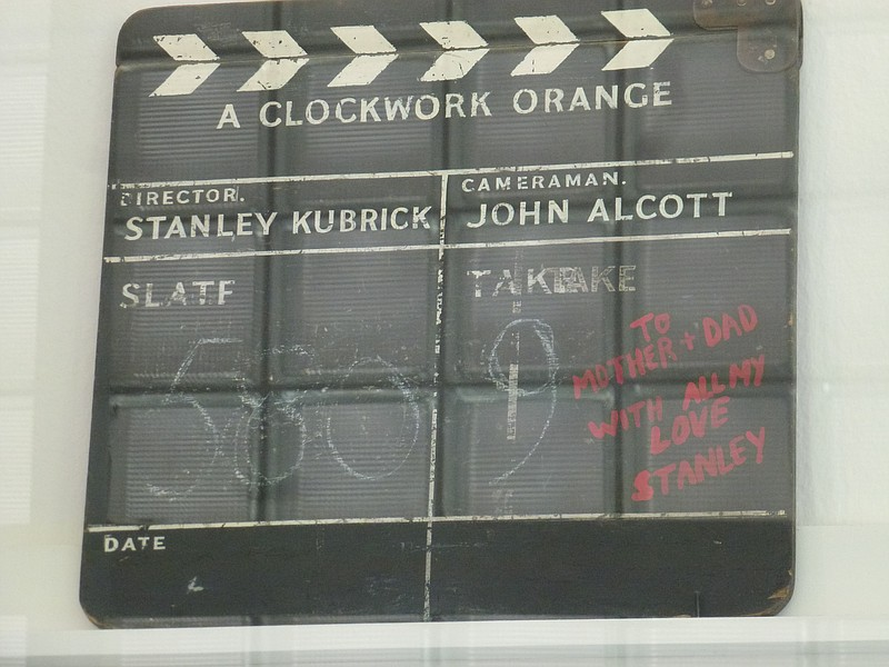 "The slate for ""A Clockwork Orange"" with a birthday message from Kubrick to hi..."