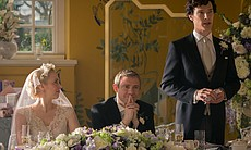 Amanda Abbington as Mary Morstan, Martin Freeman as John Watson and Benedict ...