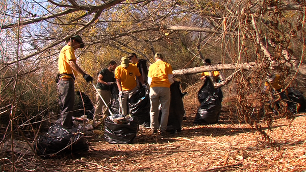 River Rescue volunteers with the San Diego River Park Foundation clean up tra...